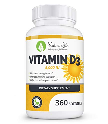 High Potency Vitamin D3 5,000 IU in Organic Olive Oil for Healthy Muscle Function, Bone Health and Immune Support | Non-GMO & Gluten Free | 1-Year Supply, 360 Mini Liquid Softgels