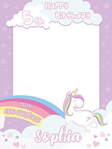 (Rainbow Magic Unicorn Pony Birthday Photo Booth - Size 24x36, 48x24, 48x36; Personalized Pony Unicorn Confetti Theme Happy Birthday Photo Booth Wall Décor, Handmade Party Supply Frame Print)