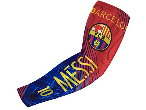 Forever Fanatics Barcelona Messi #10 Soccer Fan Compression Arm Sleeves ✓Breathable Apparel ✓ Muscle Recovery ✓ Improve Circulation (Youth Size (6-13 yrs), Barcelona Messi (Soccer Ball Youth T-shirt)