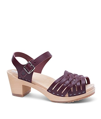 Sandgrens Swedish Wooden Low Heel Clog Sandals For Women | Sandgrens Svensk Træ Lave Hæl Tilstoppe Sandaler Til Kvinder | Madrid Bordeaux Madrid Bordeaux nUwCkxa4u