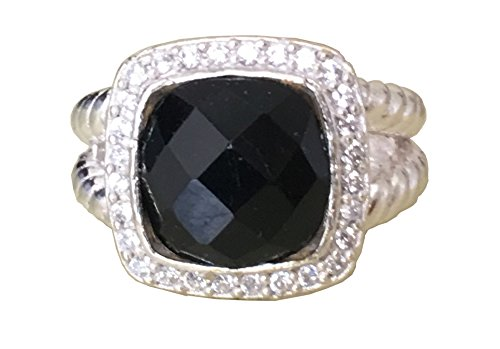 David Yurman Diamond Ring - Gempara Designer Inspired 11x11mm Cushion Cable Twisted Black Onyx Ring Size 8 (7)