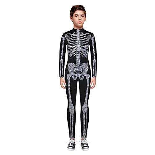 Tsyllyp Girls Boys Unisex Halloween Cosplay Skull Skeleton 3D Print Costume One-Piece Catsuit Bodysuit
