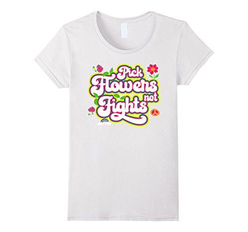 Womens Flower Power Novelty Tshirt for 60s Hippie Small (1960 Outfits)