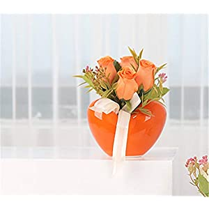 Skyseen Artificial Rose Potted Plant Silk Fake Flowers Vase Home Hotel Table Bonsai Wedding Party Centerpieces Garden Floral Decor (Orange) 50