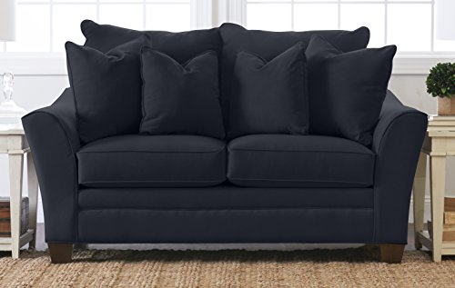 """Klaussner Home Furnishings Paxton Loveseat with 2 Throw Pillows, 44""""L x 73""""W x 31""""H, Indigo"""