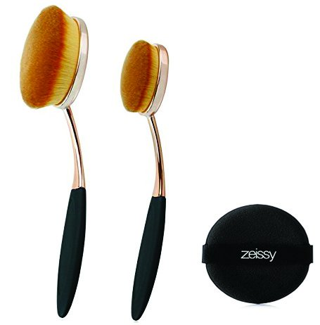 Novia Collection (Gold Rose Oval Foundation Brushes Flawless Coverage Of Your Favorite Foundation And One Zeissy Sponge Puff ( Rose/Gold))
