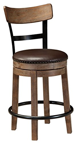 Ashley Furniture Signature Design - Pinnadel Swivel Barstool - Counter Height - Brown (Store American Furniture Signature)
