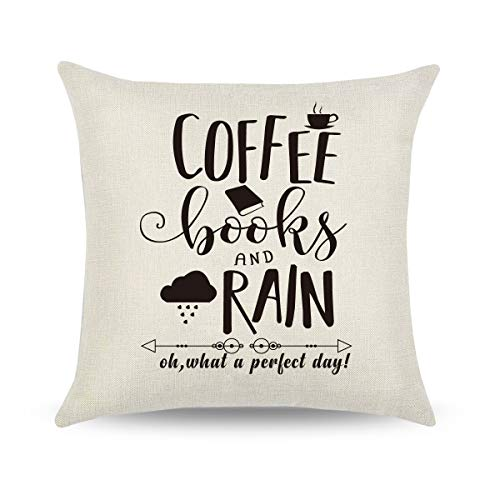 Friends Good Pillow - CARRIE HOME Book Lovers Gifts Home Goods Decor 18x18 Reading Quote Throw Pillow Covers for Good Friends (Coffee Books and Rain)