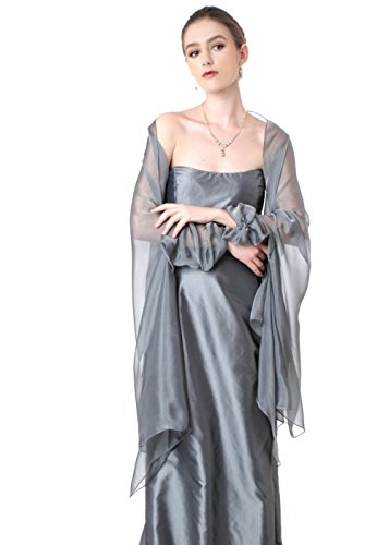 KAROLINA Silver Grey Silk Chiffon Shawl by Lena Moro