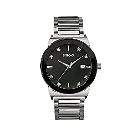 Bulova Men's Diamond Collection Black Dial Watch