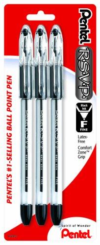 Pentel R.S.V.P. Ballpoint Pen, Fine Line, Black Ink, 3 Pack  (BK90BP3A)