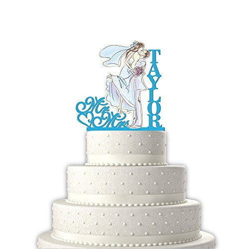 Mr Mrs Heart Bride & Groom Kissing Personalized Last Name Wedding Cake TopperSolid Light Blue