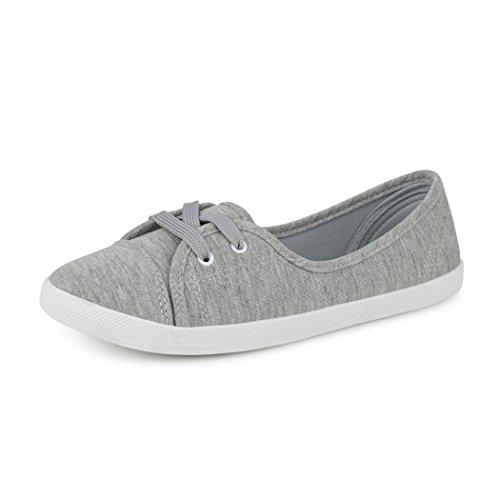 best-boots Damen Ballerinas Sneaker Schnürer Slipper Halbschuhe sportlich Textil Grey (fällt größer aus)