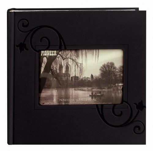 Pioneer Embossed Floral Frame Leatherette Cover Photo Album, Black - Black Embossed Album
