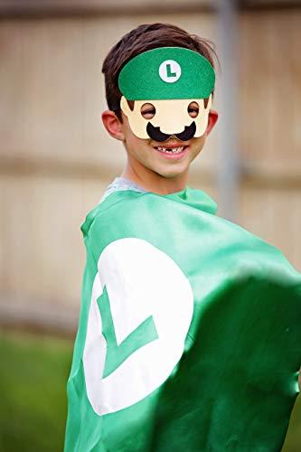 Maggie's Market Luigi Mask Super Hero Cape & Mask - Green & White Hero Cape, Super Hero Mask & Cape, Super Mario Luigi