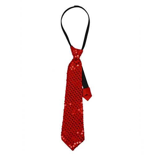 iiniim Unisex Neck Tie Pre Tied Sequins Solid Color Sequined Tie Red One Size