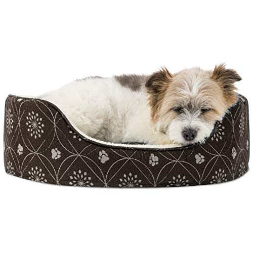 FurHaven Pet Dog Bed | Print Flannel Oval Pet Bed for Dogs & Cats, Dark Espresso, Medium