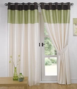 Green Curtains chocolate and green curtains : Green Chocolate Eyelet Curtains - Faux Silk Vienna - 66'' x 90 ...