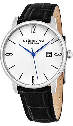 Stuhrling Original Men's 997L.01 Ascot Stainless Steel Date Watch with Black Leather B