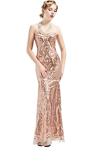 BABEYOND Women's 1920s Vintage Long Beaded Sequin Strapless Dress Roaring 20s Flapper Gatsby Dress Lace up Banquet Dress (L)