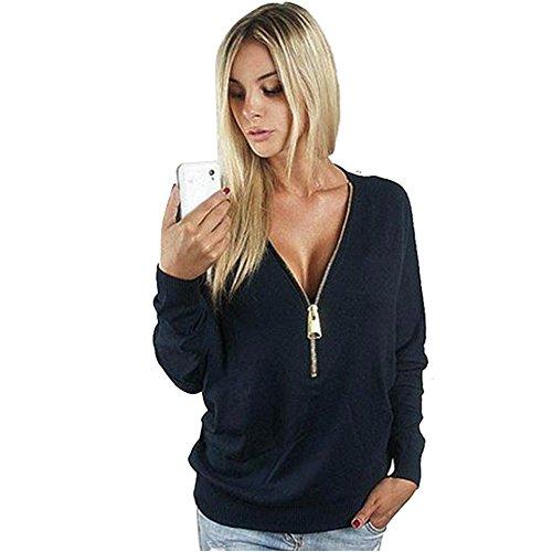 Cengling Womens Deep V Neck Sexy Shirt Bodycon Zipper Loose Pullover Sweatshirt Blouse Tops - Ribbed Gap Jersey