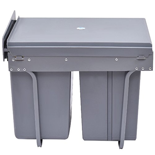 Grey Plastic Rubbish Trash 10.5 Gallon 3 Compartment Recycling Bin Home Household Kitchen Office Built-In Trash Recyclables Non-Recyclables Waste Garbage Sorter Convenient Carry Handles On Inner Drum