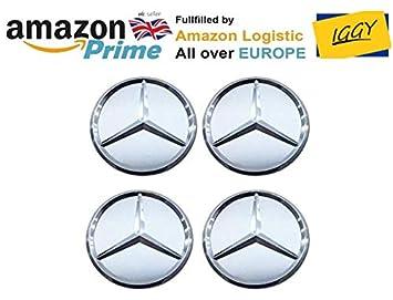 IGGY 4 x Tapones Tapacubos Silver Blanco Logo Mercedes DE 75 mm - Clase A B C E CLK GL M ML SLK - para Tachuelas Círculos Aleación: Amazon.es: Coche y moto