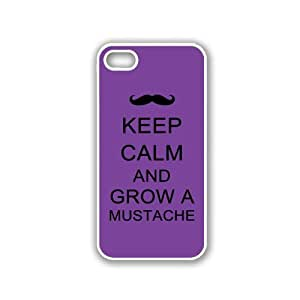 Keep Calm And Grow A Mustache - Red Wood - Protective Designer BLACK Case - Fits Apple iPhone 5 / 5S