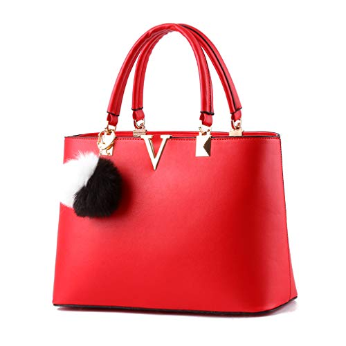 Pahajim 2017 Women bag V Letters handbags Women Leather tote bag fashion handbags for women (red)