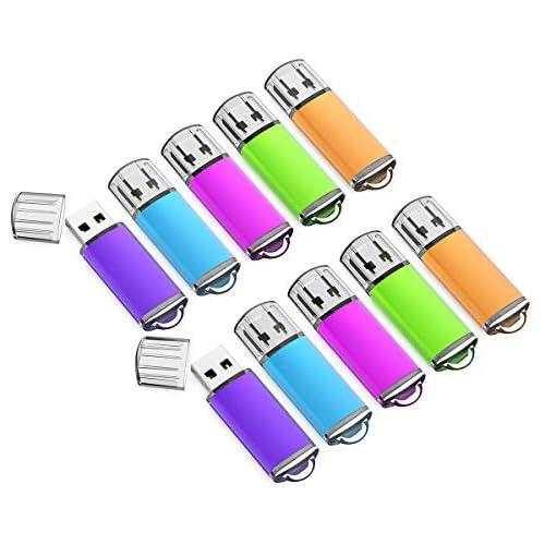 K&ZZ 10 Pack 16GB USB Flash Drive USB 2.0 Memory Stick Thumb Drives (Mixed Colors: Blue Green Pink Purple Orange)