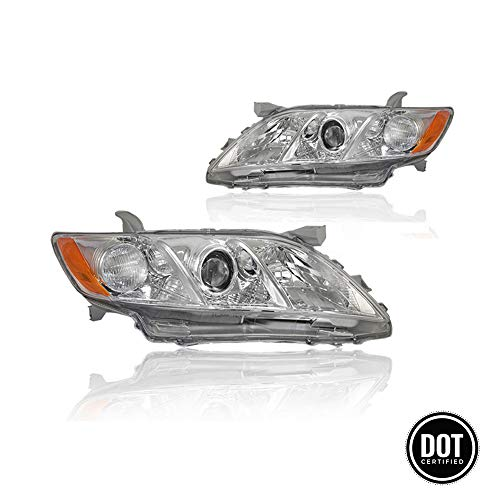 Replacement Headlight Assembly GTYCM07-A2 with Headlamp Chrome Housing Amber Reflector Clear Lens for Toyota Camry 2007-2009