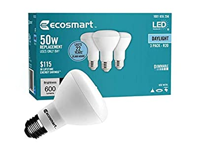 EcoSmart BR20 Daylight LED, Dimmable, 600-Lumen, 5000K, 8-Watt (50-Watt Equivalent) Light Bulb, E26 Medium Base