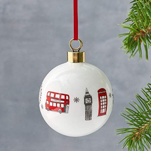 London Skyline Christmas Ornament/Bauble - Made in Britain of Fine Bone China