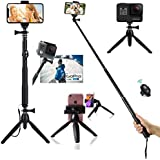 HUAY Selfie Stick Tripod HUAY,40 Inch Extendable Selfie Stick Tripod with Bluetooth Remote Control Compatible with Digital Cameras, GoPro Hero Fusion/7/6/5/4/3+/3/Action Cameras and Cell Phones