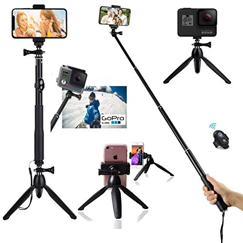 HUAY Selfie Stick Tripod HUAY,40 Inch Extendable Selfie Stick Tripod with Bluetooth Remote Control Compatible with Digital Cameras, GoPro Hero Fusion/7/6/5/4/3+/3/Action Cameras and Cell Phones (Selfie Stick Bluetooth Gopro)