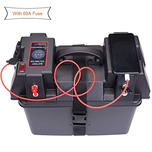 Great Features Of Homeon Wheels Trolling Motor Battery Marine Boat Smart Battery Box Power Center with 60A Fuse