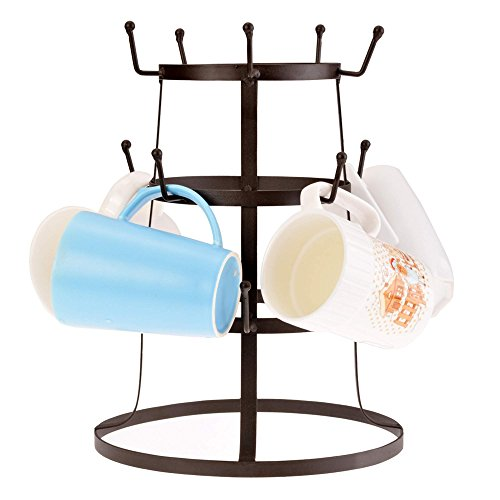 Amdirect-Tree-Drying-Rack-Stand-Rustic-Brown-Iron-Mug-Cup-Glass-Bottle-Organizer