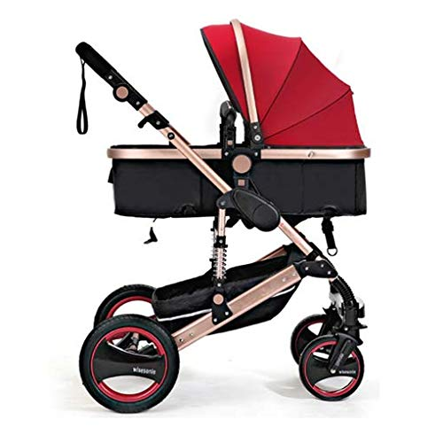 YZ-YUAN Pushchair Prams Baby Stroller Travel Easy Safe&Care Four Wheel Foldable Adjustable Carry Bag Rain Cover Recliner Travel System, from Birth,Red