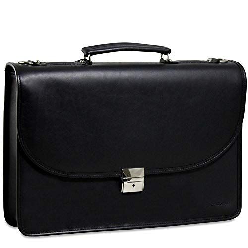 Jack Georges [Personalized Initials Embossing] Platinum Single Gusset Flap Leather Briefcase in Black