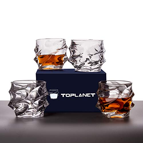 Whiskey Glasses Set of 4 Rocks Style,TOPLANET Crystal Lead Free Old Fashioned Glasses Tumbler with 4 Coaster, Whiskey Cup Set Drink for Gift Bar Party Whiskey Bourbon Scotch Vodka- 11 OZ Capacity by TOPLANET (Image #4)