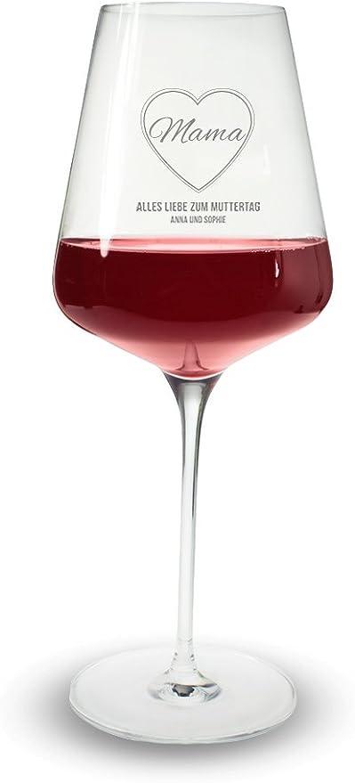 Copa de vino tinto - Copa de Vino para grabado Rotwwein - mamá en el corazón -