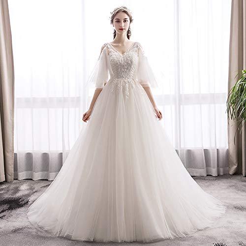IOIOA Wedding Dress, Sen Light Wedding Bride French Retro Hepburn Slim Simple Wedding Dress - Light Champagne,S