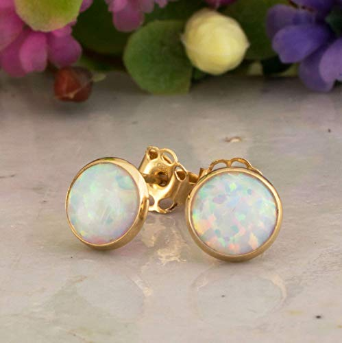 (14K Gold White Opal Stud Earrings - 14K Solid Yellow Gold Studs, Dainty 6mm October Birthstone Small Cute Opal Jewelry - Simple Handmade Gift for Girls and Women)