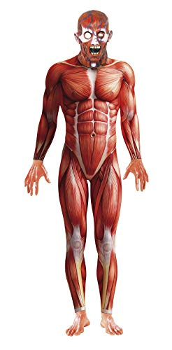 Smiffys Men's Anatomy Man Costume, Bodysuit and Mask, National Horror Service, Halloween, Size M, 21580