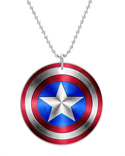 """Pop super hero america captain pentagram shield New Round Dog Tag Or Cat Tag with Neck Chain photo (One Side), Dog Tag Size 1.7inches in Diameter,comes with 30"""" inches inch 2mm Stainless Steel bead chain"""