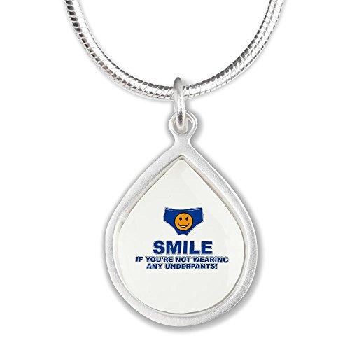 Silver Teardrop Necklace Smile If Not Wearing Underwear
