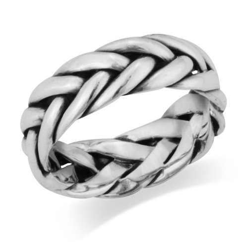 925 Sterling Silver Woven Braided Celtic Band Ring - Size 9