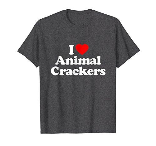 Mens I Love Animal Crackers Heart Funny Crackers Gift T-Shirt Large Dark ()