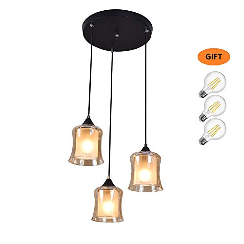 YHTlaeh Amber Glass Pendant Light Ceiling Light Fixture for Kitchen Island Dining Room Foyer Table Hallway(Include 3 LED Bulbs) ()