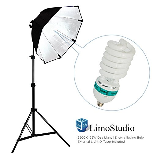 (Certified Refurbished) LimoStudio Photography Video Studio Continuous Softbox Lighting Light Kit with Photo CFL 105W Bulb and Octagonal Soft Box, AGG702 by LimoStudio